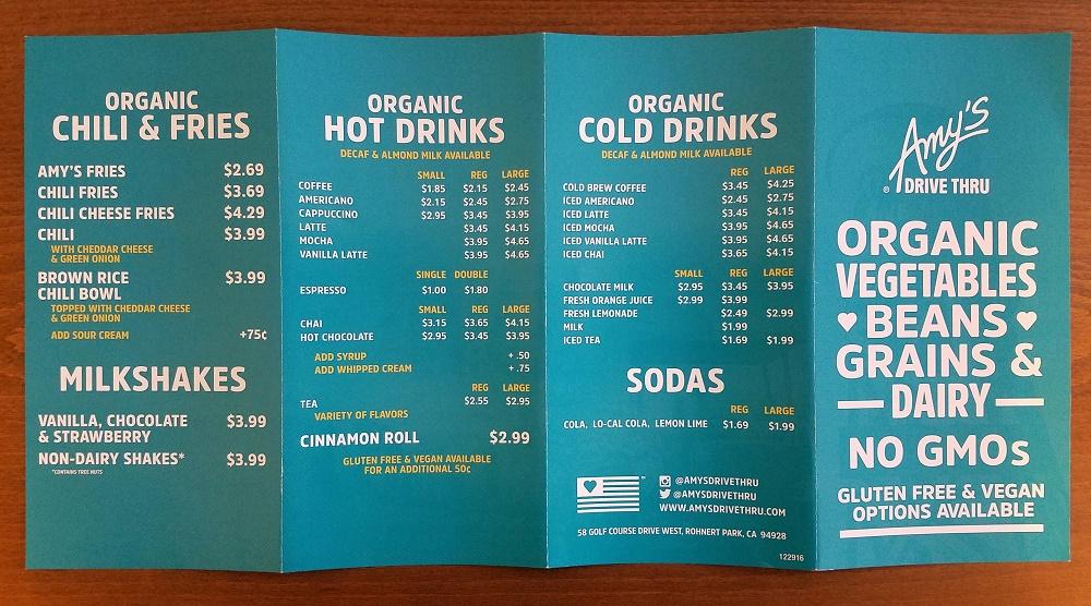 Amy's Drive Thru menu - picture of the back menu