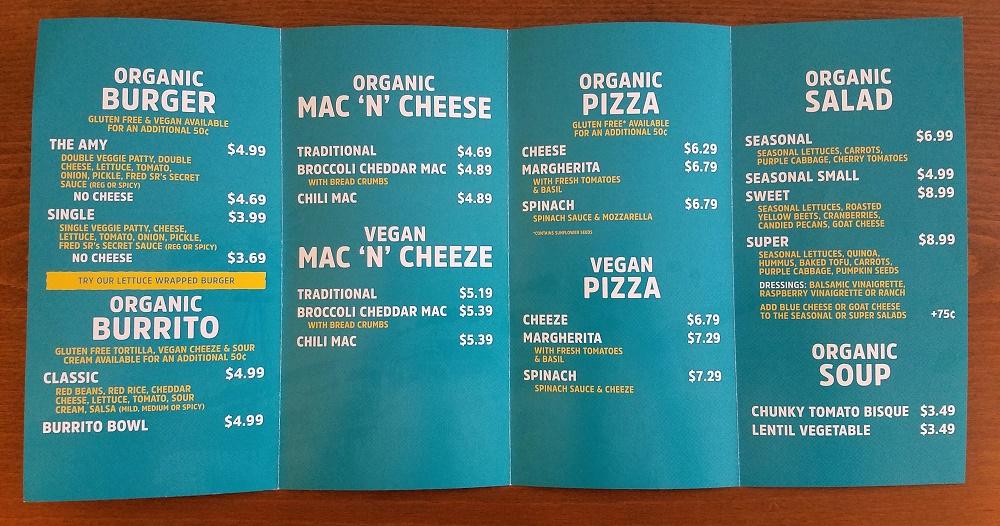 Amy's Drive Thru menu - picture of the front menu